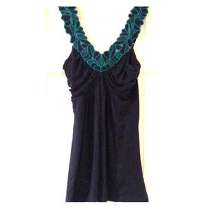 Navy with turquoise accent flattering top